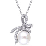 1/10 CT Diamond TW 8 - 8.5 MM White Freshwater Cultured Pearl Fashion Pendant With Chain Silver GH I2;I3 - 75000003593