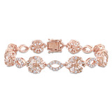 1 1/4 CT Diamond TW & 12 1/2 CT TGW Morganite White Sapphire Fashion Bracelet 14k Pink Gold GH SI Length (inches): 7 - 75000003759