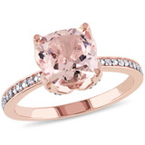 0.06 CT Diamond TW And 2 CT TGW Morganite Fashion Ring 10k Pink Gold GH I2;I3 - 75000003771