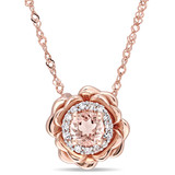 0.08 CT Diamond TW & 1/3 CT TGW Morganite-Licensed Fashion Pendant With Chain 10k Pink Gold GH I2;I3 - 75000003780