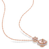 1/5 CT Diamond TW & 1 1/3 CT TGW Morganite Fashion Pendant With Chain 14k Pink Gold GH I1 - 75000003784