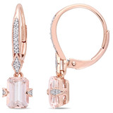 1/10 CT Diamond TW & 1 4/5 CT TGW Morganite-Licensed LeverBack Earrings 10k Pink Gold GH I2;I3 - 75000003790