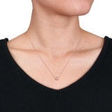 7/8 CT TGW Morganite White Topaz Necklace With a 45cm Chain 10k Pink Gold - 75000003791
