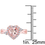 0.01 CT Diamond TW & 1 2/5 CT Morganite Created White Sapphire Fashion Ring Pink Silver GH I2;I3 - 75000003868