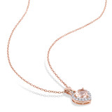 0.005 CT Diamond TW & 1 2/5 CT Morganite Created White Sapphire Heart With Chain Pink Silver GH I2;I3 - 75000003870