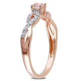 1/10 CT TW Diamond and Morganite Infinity Ring in Rose Plated Sterling Silver - 75000003872