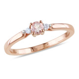 Round Cut Morganite and Diamond Accent Ring in Rose Plated Sterling Silver - 75000003873