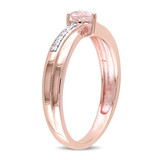 Morganite and Diamond Accent Heart Ring in Rose Plated Sterling Silver - 75000003875