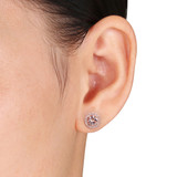 1/10 CT Diamond TW & 1 3/4 CT TGW Morganite Ear Pin Earrings Pink Silver GH I2;I3 - 75000003886