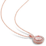 1/10 CT Diamond TW & 1 1/6 CT TGW Morganite Fashion Pendant With Chain Pink Silver GH I2;I3 - 75000003889