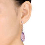 19 7/8 CT TGW Pear Shaped Pink Amethyst & 7/8 CT TW Diamond Halo Drop Earrings in 14k Rose Gold - 75000003808