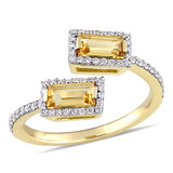 Baguette Cut Citrine and 1/4 CT TW Diamond Open Ring in 14k Yellow Gold - 75000003831