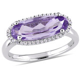 3 1/5 CT TGW Oval Shape Amethyst and White Topaz Halo Ring in Sterling Silver - 75000003861