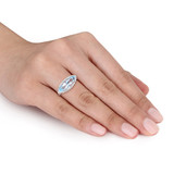 2 7/8 CT TW Marquise Shape Blue & White Topaz Halo Ring in Sterling Silver - 75000003862