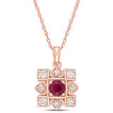 1/5 CT Diamond TW & 1/3 CT TGW Ruby Fashion Pendant With Chain 10k Pink Gold GH I2;I3 - 75000004014