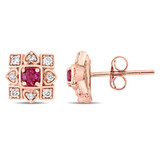 1/5 CT Diamond TW And 1/3 CT TGW Ruby Ear Pin Earrings 10k Pink Gold GH I2;I3 - 75000004017
