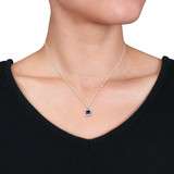 1/10 CT Diamonds & 1 CT Created Blue Sapphire Pendant With Chain 10k White Gold GH I2;I3 - 75000004074