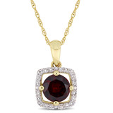 1/10 CT Diamond TW & 1 CT TGW Garnet Fashion Pendant With Chain 10k Yellow Gold GH I2;I3 - 75000004075