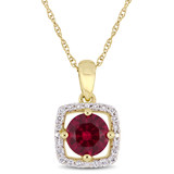 1/10 CT Diamond TW & 1 CT TGW Created Ruby Pendant With Chain 10k Yellow Gold GH I2;I3 - 75000004080