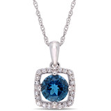 1/10 CT Diamond TW & 1 CT TGW Blue Topaz - London Fashion Pendant With Chain 10k White Gold GH I2;I3 - 75000004081