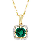 1/10 CT Diamond TW & 4/5 CT TGW Created Emerald Fashion Pendant With Chain 10k Yellow Gold GH I2;I3 - 75000004083