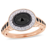 1 1/4 CT TW Black Diamond Halo Engagement Ring in 10k Rose Gold - 75000004131