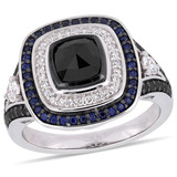 1/5 CT TGW Sapphire & 1 3/4 CT TW Black & White Diamond Double Halo Engagement Ring in 10k White Gold - 75000004137
