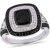2 CT TW Black and White Diamond Double Halo Engagement Ring in 10k White Gold - 75000004138