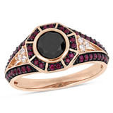 1 CT TW Black & White Diamond & 1/2 CT TGW Ruby Octagon Halo Ring in 10k Rose Gold with Black Rhodium - 75000004141