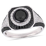 1 3/4 CT TW Black & White Diamond Double Halo Engagement Ring in 10k White Gold - 75000004142