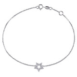 1/10 CT TW Diamond Star Charm Bracelet in 14k White Gold - 75000004152