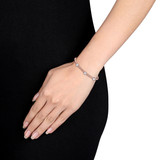 1/8 CT TW Diamond Bangle Bracelet in Two-Tone 14k White and Rose Gold - 75000004184