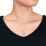 0.05 CT Diamond TW Locket Pendant With Chain Silver GH I2;I3 - 75000004220
