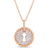 1/5 CT Diamond TW Fashion Pendant With Chain Pink Silver GH I2;I3 - 75000004228