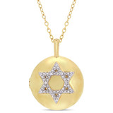 0.05 CT Diamond TW Locket Pendant With Chain Yellow Silver GH I2;I3 - 75000004218
