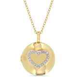 0.05 CT Diamond TW Locket Pendant With Chain Yellow Silver GH I2;I3 - 75000004217