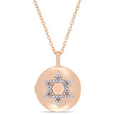0.05 CT Diamond TW Locket Pendant With Chain Pink Silver GH I2;I3 - 75000004219