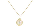 9ct Yellow Gold CZ Cut Out 15mm Disc Adjustable Necklace 41cm/16'-46cm/18' - 1.19.8134