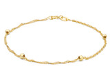 9ct Yellow Gold Twist Curb and Ball Chain Bracelet 19cm/7.5' - 1.23.1382