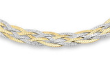 9ct 2-Colour Gold 6 Plait Textured Herringbone Bracelet 18cm/7' - 2.21.0511