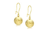 9ct Yellow Gold 10mm Diamond Cut Ball Drop Earrings - 1.56.8419
