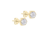 9ct Yellow Gold 4mm Hexagonal CZ Stud Earrings - 1.57.0533