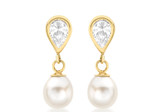 9ct Yellow Gold CZ Teardrop and Pearl Drop Earrings - 1.57.7659