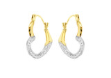 9ct Yellow Gold 2-Tone Textrured Heart Creole Earrings - 1.58.2079