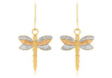 9ct 3-Colour Gold Textured Dragonfly Drop Earrings - 3.58.3009