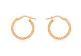 9ct Rose Gold 15mm Cobra Textured Creole Earrings - 5.51.0579