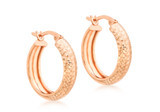 9ct Rose Gold 19mm Diamond Cut Creole Earrings - 5.53.9719
