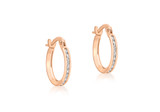 9ct Rose Gold CZ Band 13mm Creole Earrings - 5.58.8369