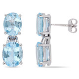 12 5/8 CT TGW Oval-Cut Sky-Blue Topaz Dangle Earrings In Sterling Silver - 75000004329