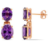 8 1/10 CT TGW Oval-Cut Africa-Amethyst Dangle Earrings In Rose Gold Plated Sterling Silver - 75000004330